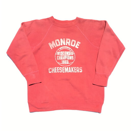 60's UNKNOWN ラグランスリーブスウェット フロッキープリント レッド 赤 フェード MONROE CHEESEMAKERS 1965  M位 希少 ヴィンテージBA-963 RM1332H