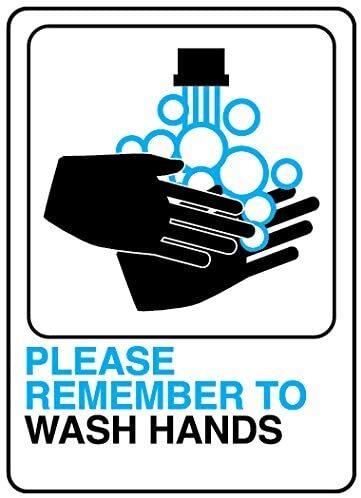 【HY-KO】 Please WASH Hands Info グラフィックプラスチックサイン 5 x 7インチ