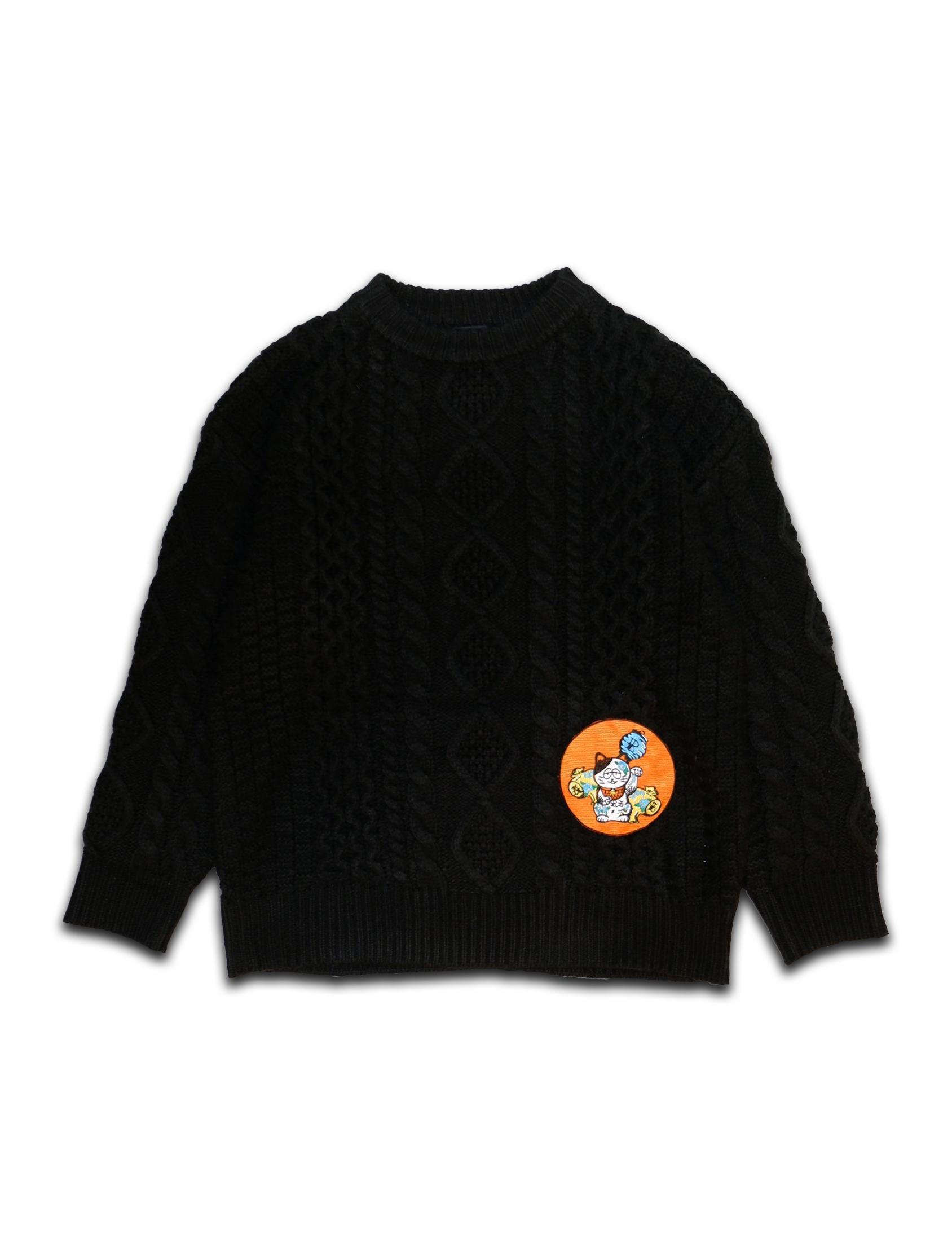 MANEKINEKO PATCH CREW NECK SWEATER black