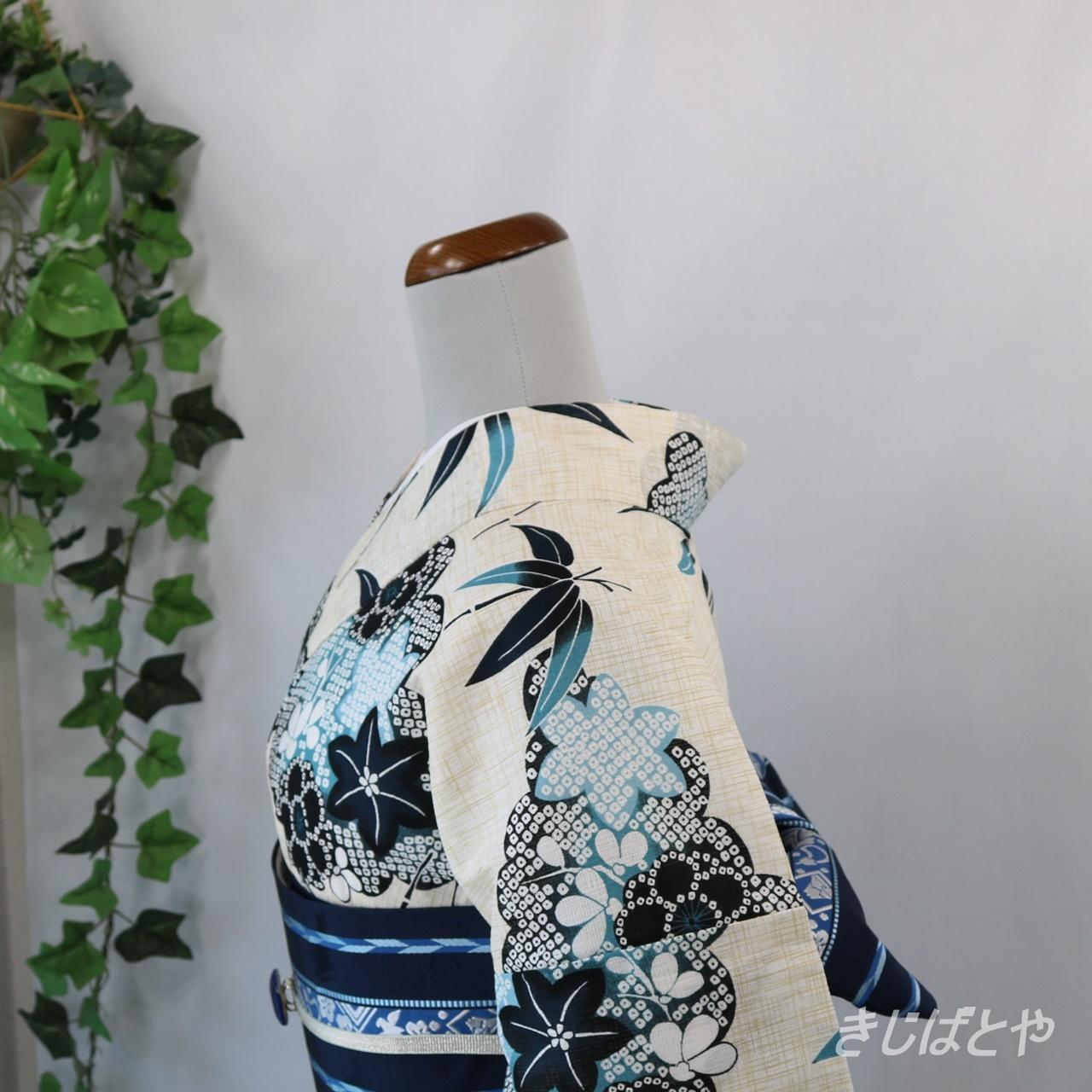 綿麻浴衣 練色に雲取鹿の子
