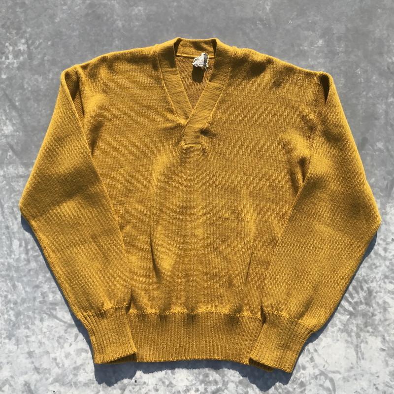 60's Lamd Knit Vネックウールセーター プレーン マスタード 美品 L位 リブ長 希少 ヴィンテージ