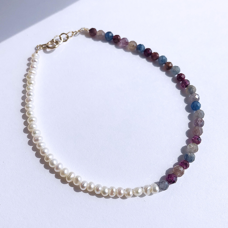 K10YG Multi Sapphire & Baroque Pearl Bracelet / チャリティージュエリー