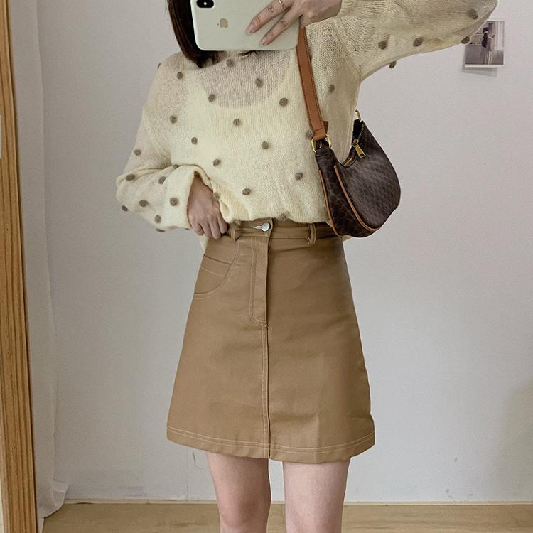 〈カフェシリーズ〉フェイクレザーミニスカート【fake leather mini skirt】
