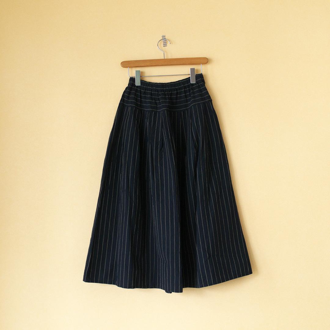 YAMMA ヤンマ産業 会津木綿タックスカート +10cm・はなふさ縞