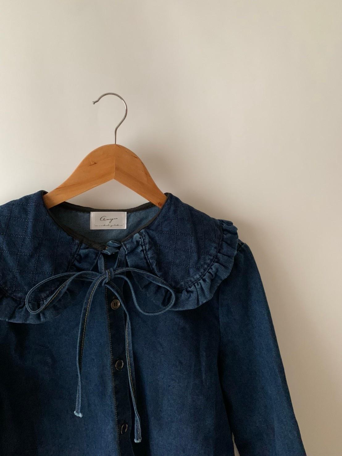 【asyu】frill denim shirt