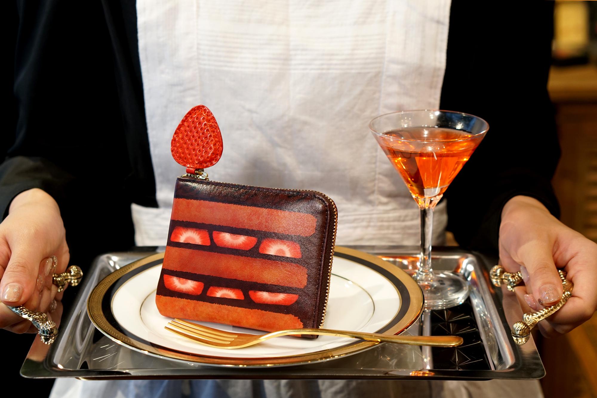 【セール品】薄型!チョコレートケーキなL字ファスナーミニ財布(牛革製)
