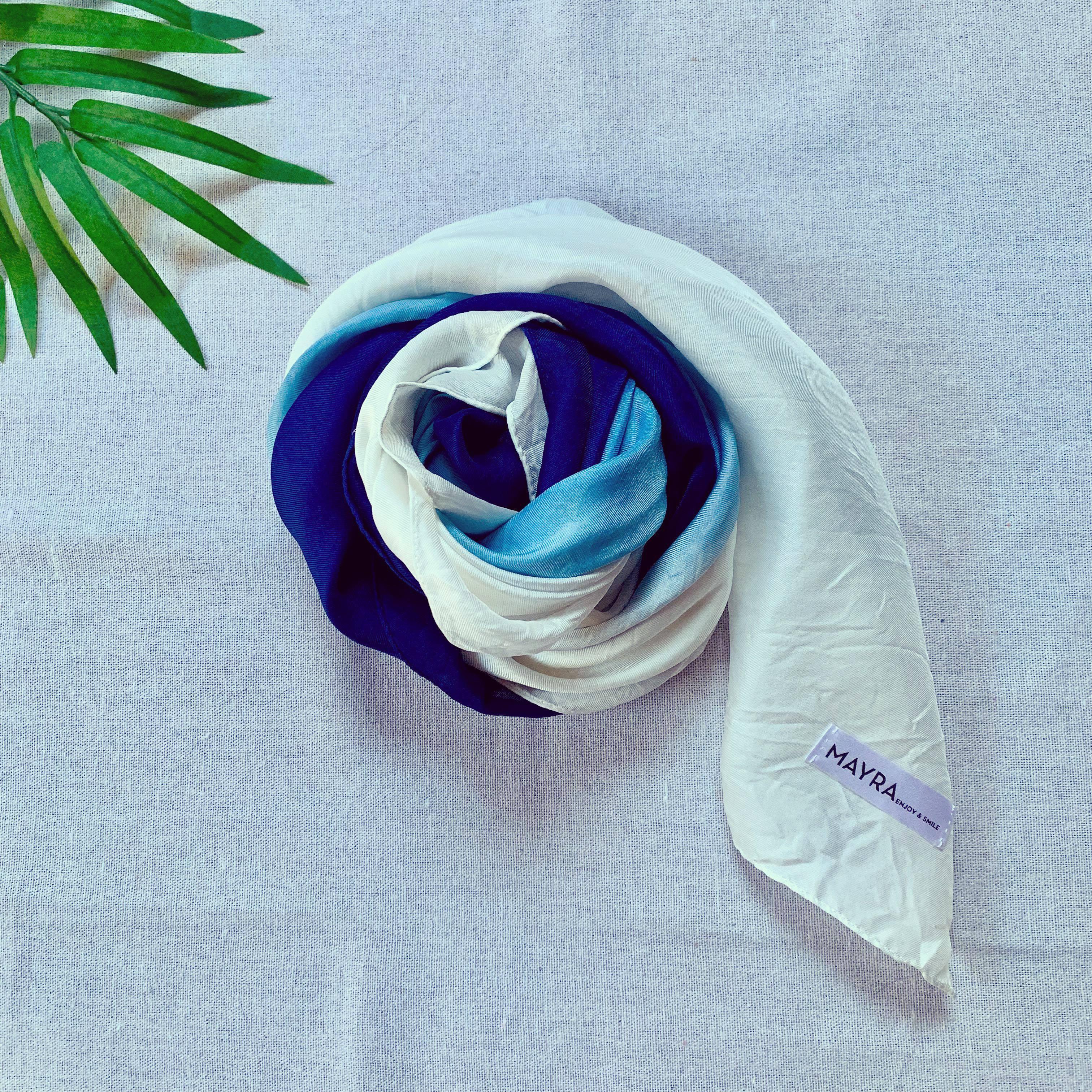 【Unisex】藍染シルクスカーフ・3色・日本製シルク・大判