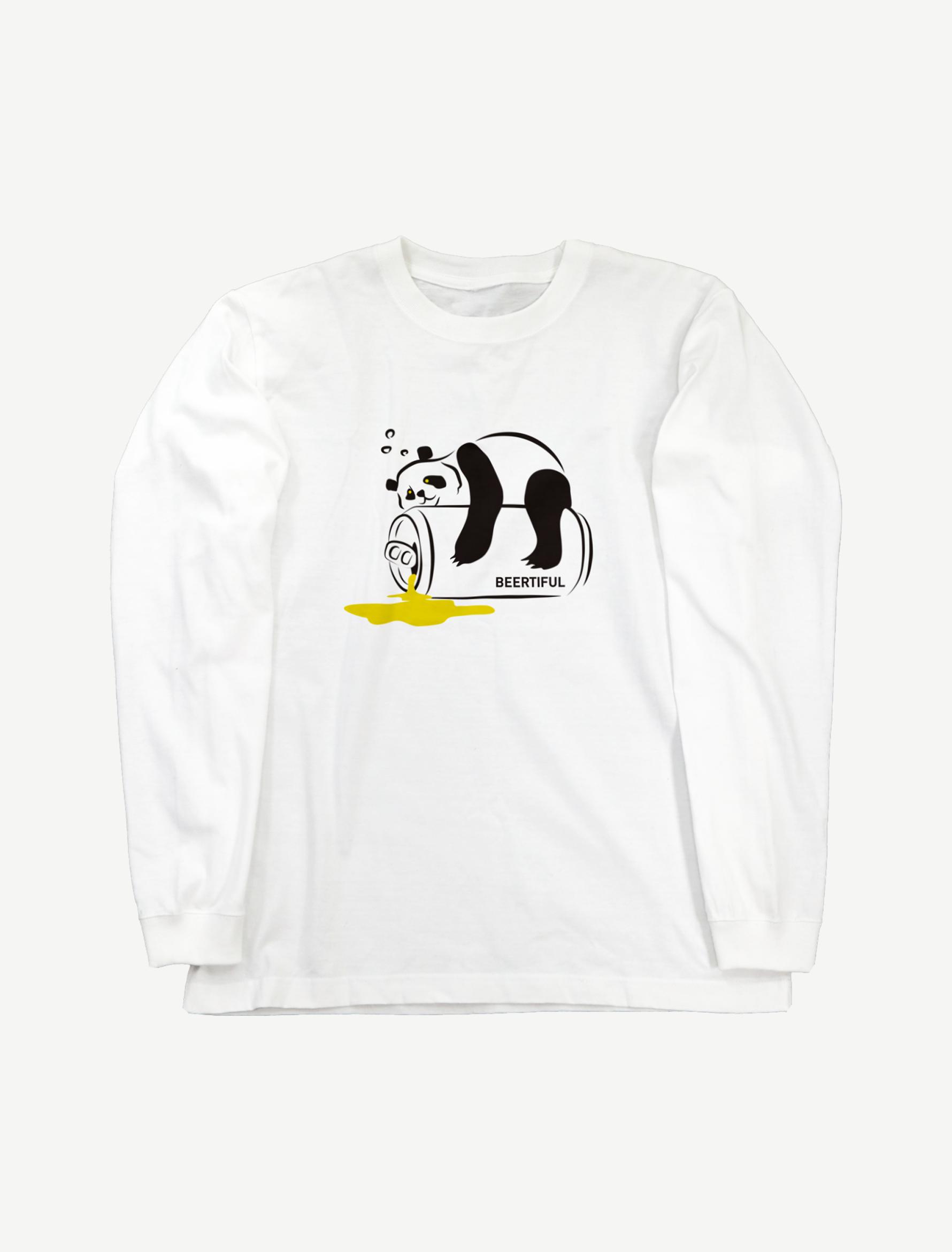 【ほろ酔いパンダ】ロングスリーブTシャツ(ホワイト)