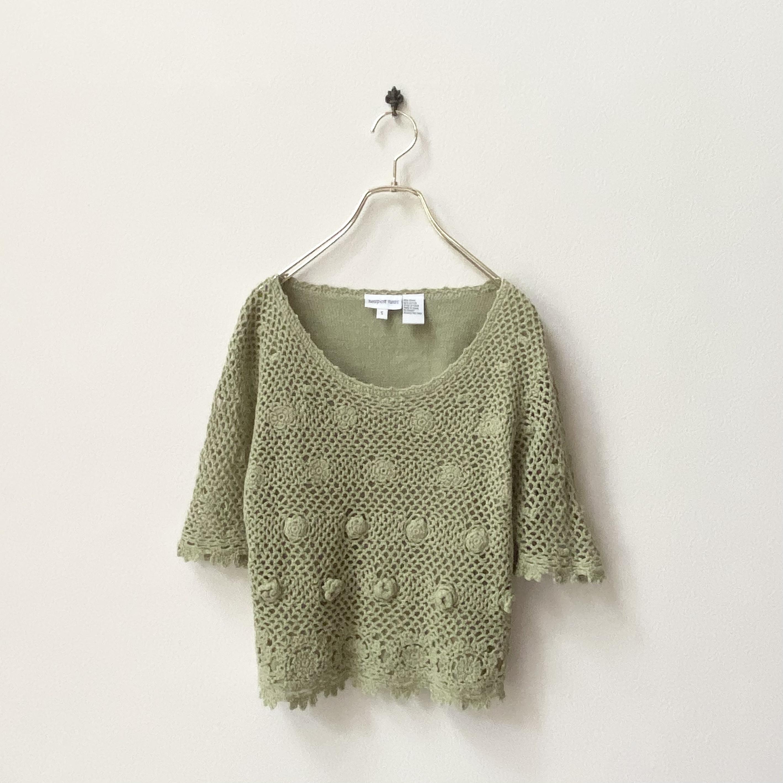 レディース かぎ編み 半袖ニット M アメリカ 古着