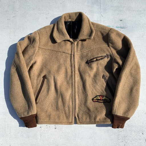 50's 60's FLIGHT APPAREL IND COLAN&SON メルトンブルゾン AOPAワッペン ベージュ レア 航空 40 希少 ヴィンテージ