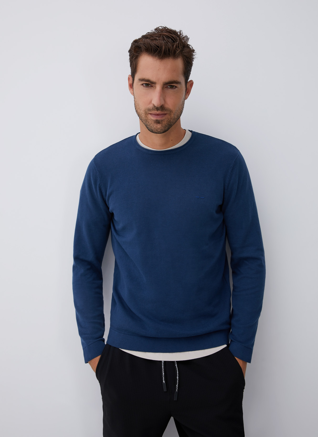 COTTON SWEATER WITH ROLL EDGE NECK