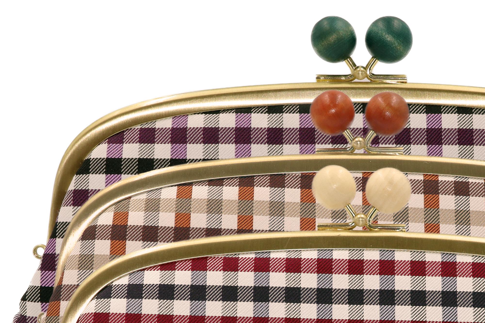 Atelier Kyoto Nishijin/西陣織シルク・がま口長財布・ギンガムチェック・ブラウン・日本製