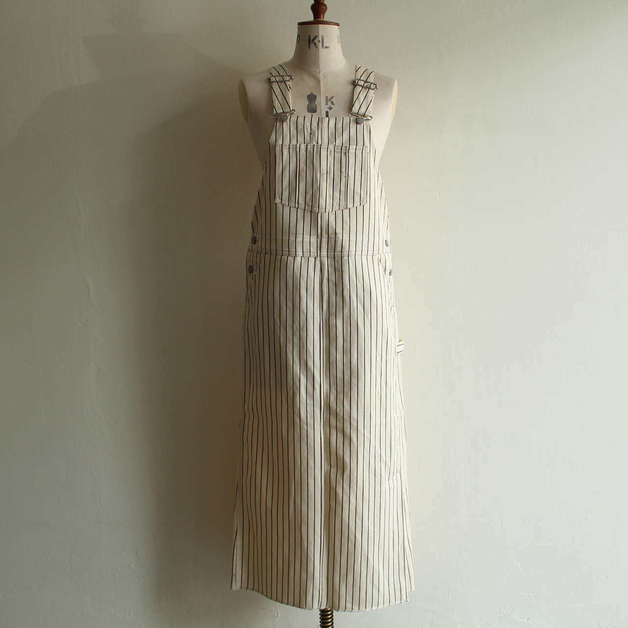 UNION LAUNCH【 womens 】stripe linen cotton overalls skirt