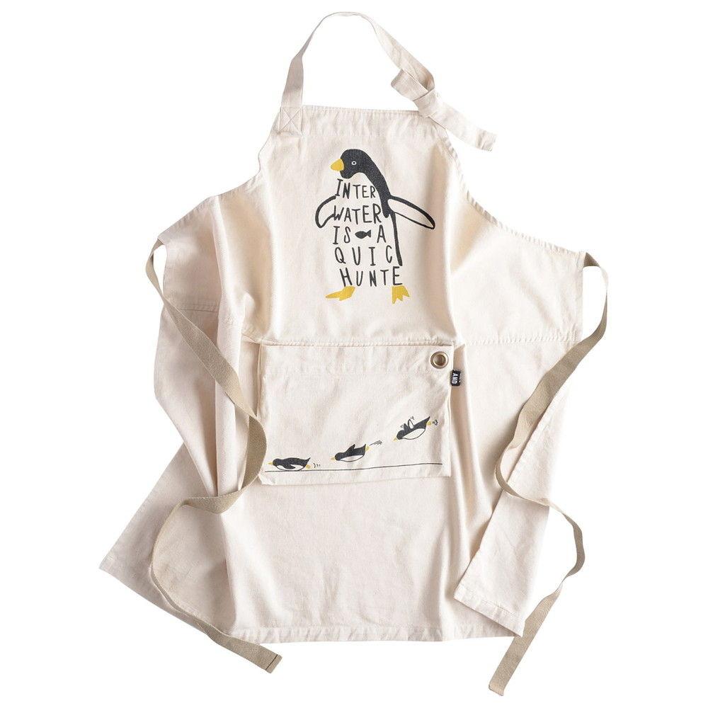 アンドパッカブル エプロン オシャレ収納 約80×80cm 白ペンギン ホワイト 62809