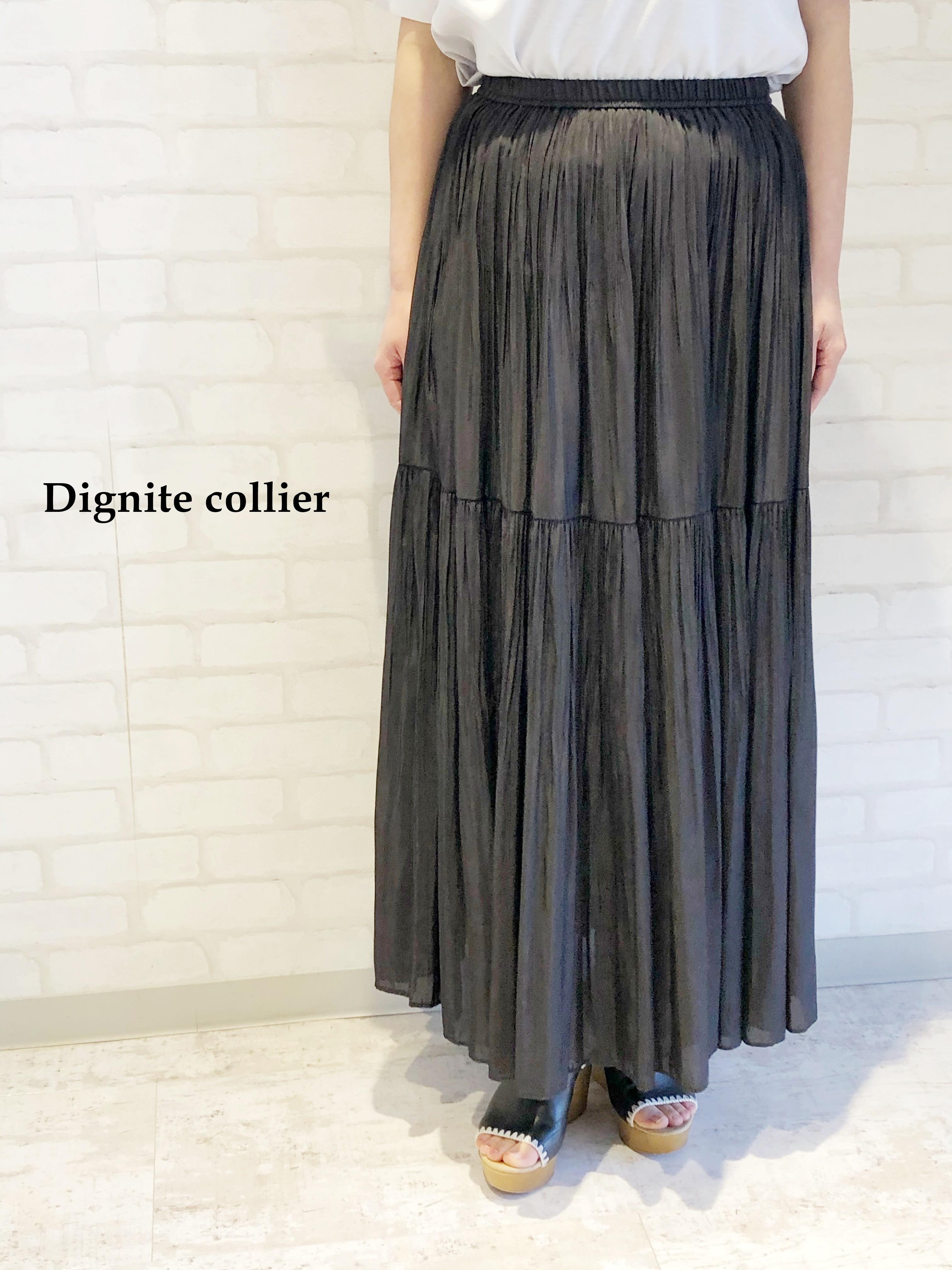 Dignite Collier/2段ランダムプリーツロングスカート/802006(ブラック)