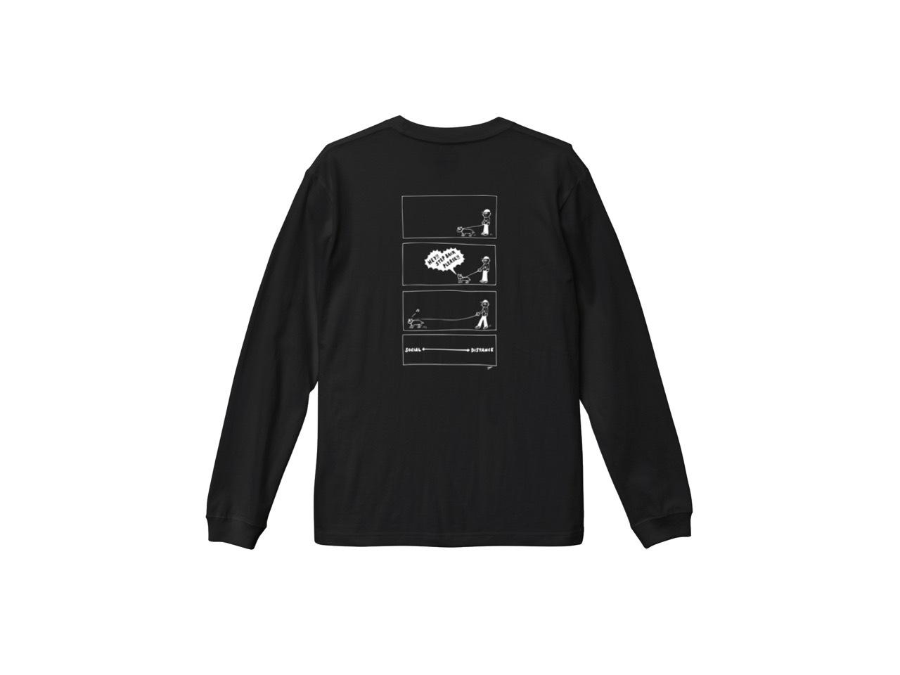 SHI × coguchi Dog SD long T-shirt (BLK/WH)