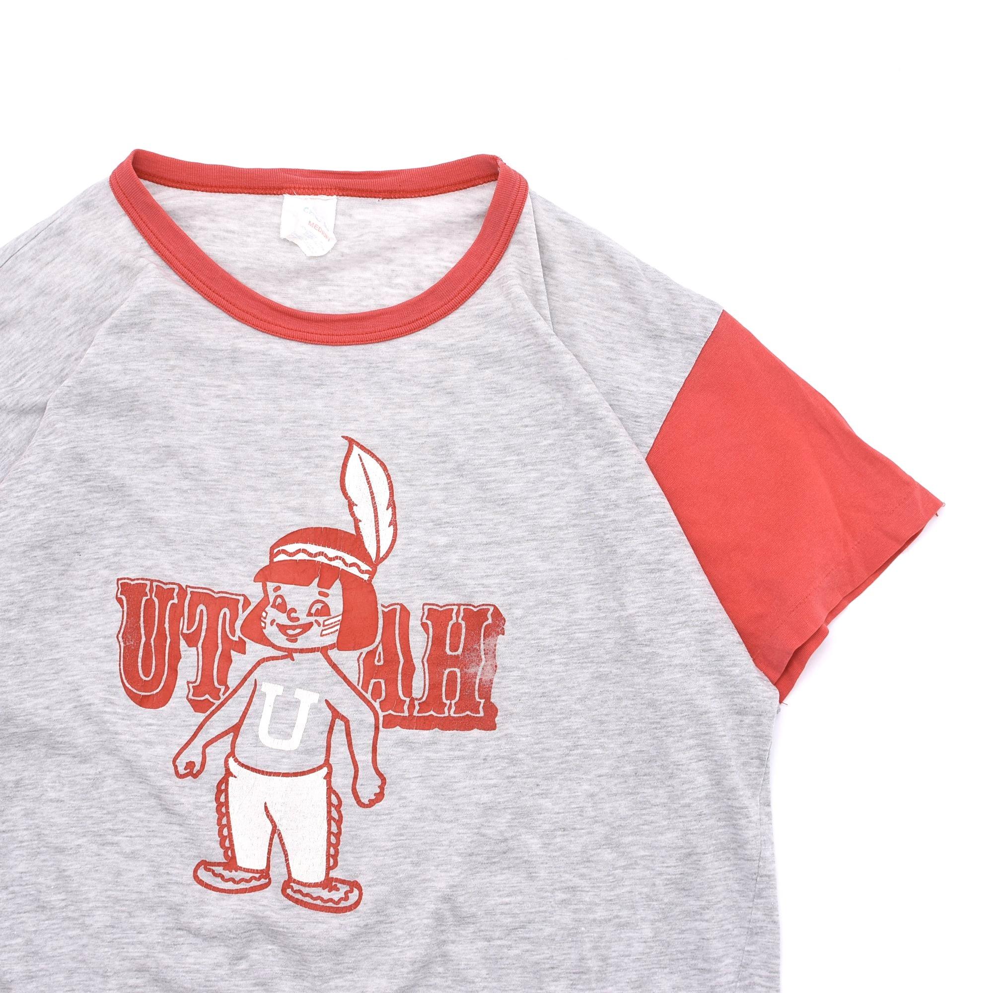 """70〜80s 2tone """"UTAH"""" print ringer T shirt"""