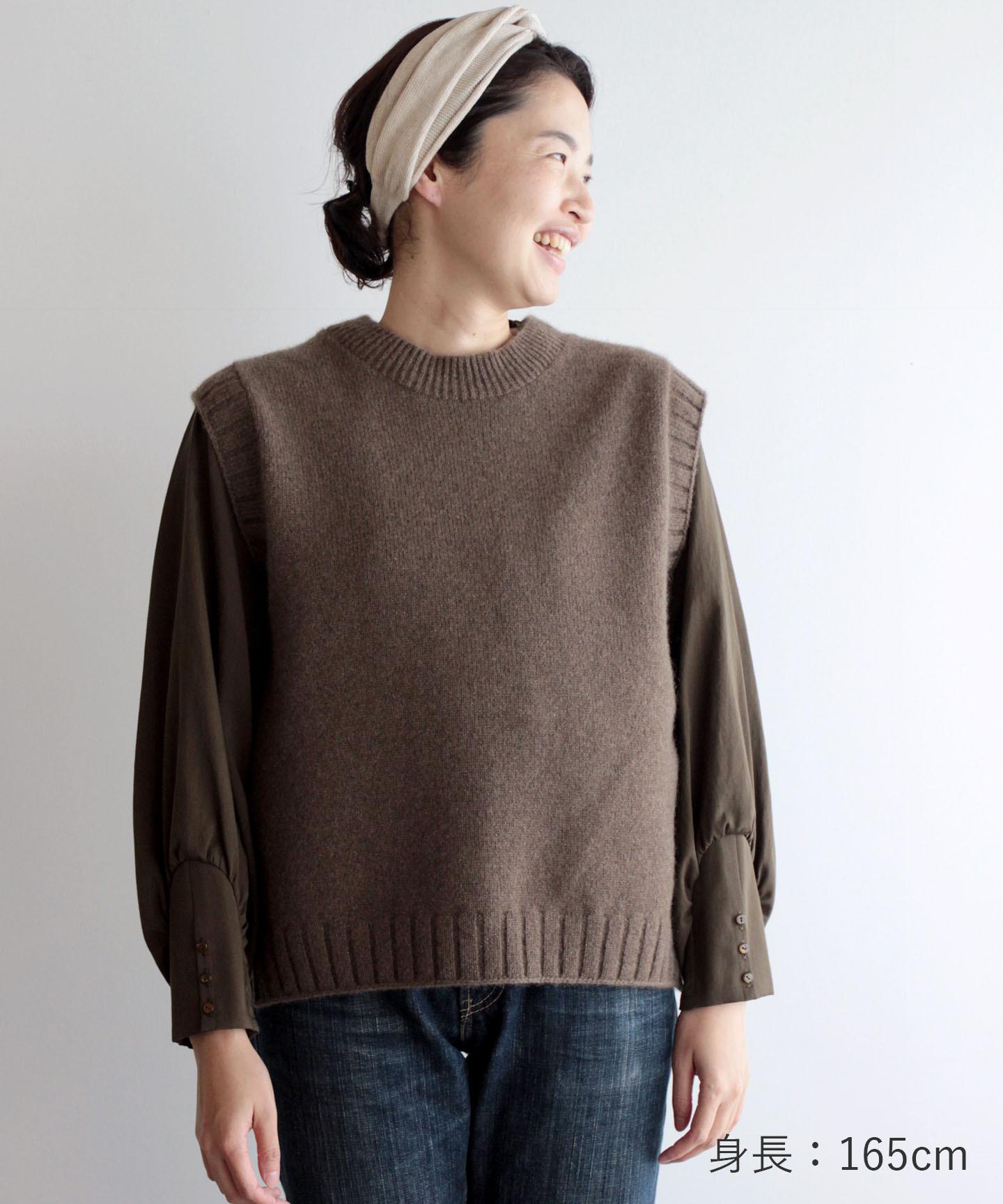 【予約販売】手編み機で編んだヤク糸(NO.21)のベスト (YAA-925)