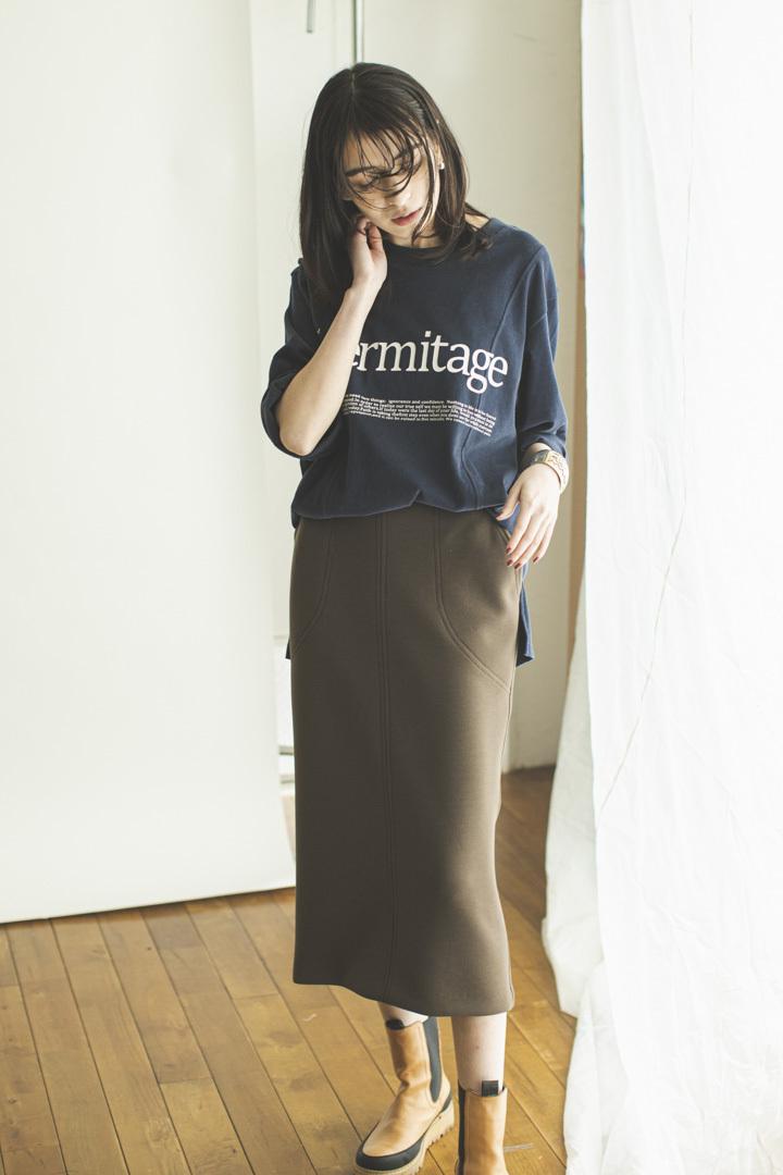 ポンチタイトスカート < カーキブラウン >