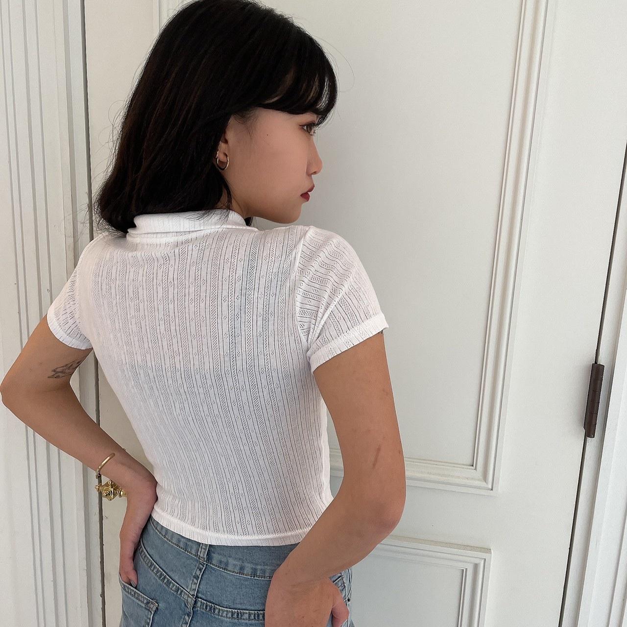 【Belle】front zip tops / ivory
