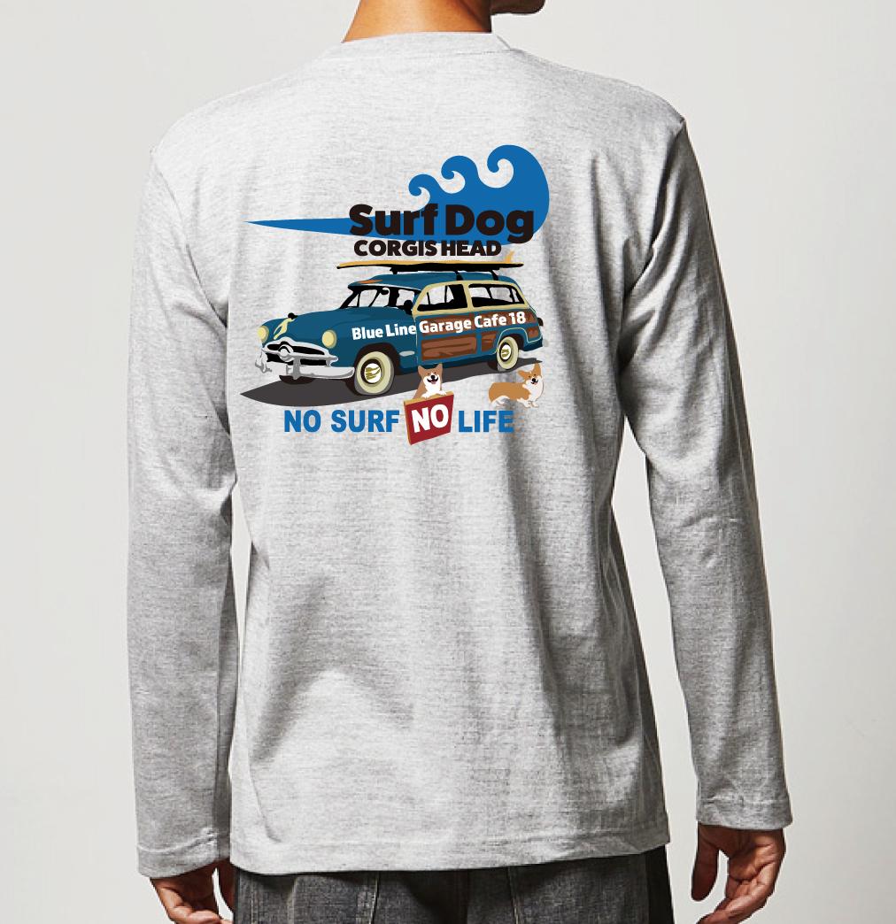 No.2020-welshcorgi-longts004  : 長袖Tシャツ 5.6oz  サーフシリーズ  コーギーのSURF DOG  NO SURF NO LIFE