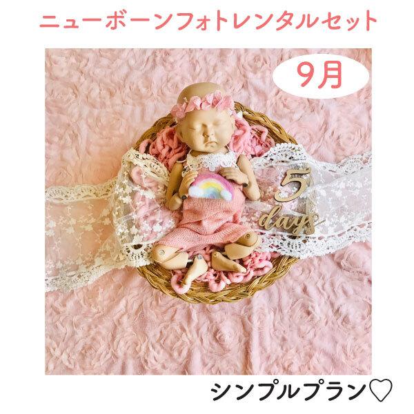 幸せのガーリピンク♡シンプルプラン♡ニューボーンフォトレンタル女の子セット<9月ご出産予定お客様枠>