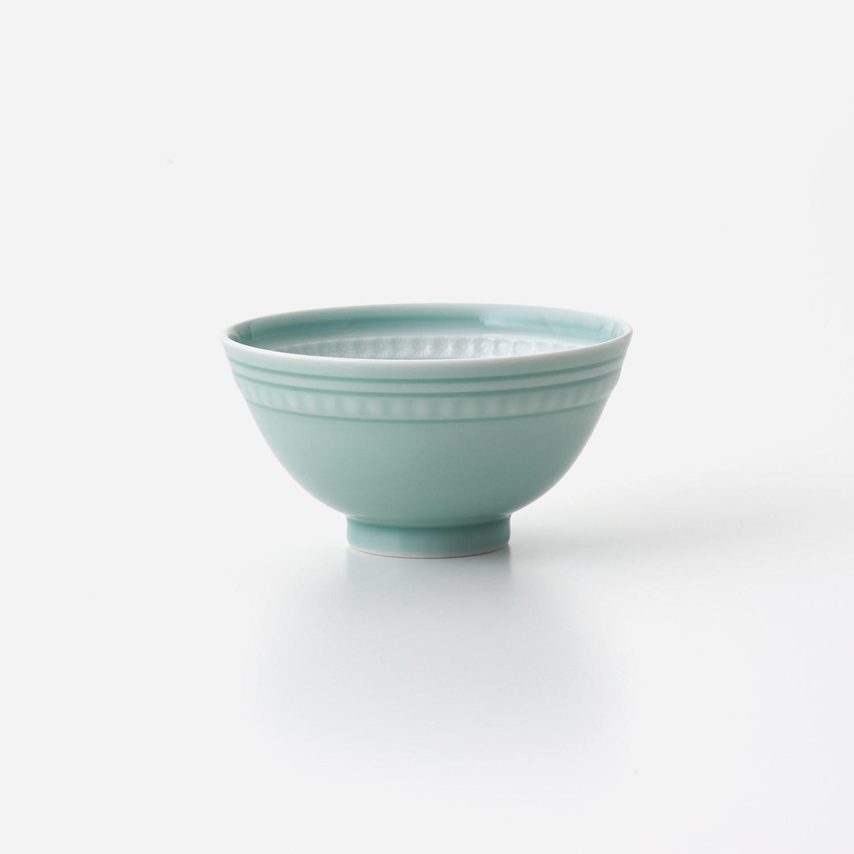 No.153 青磁印花 飯碗 (大)