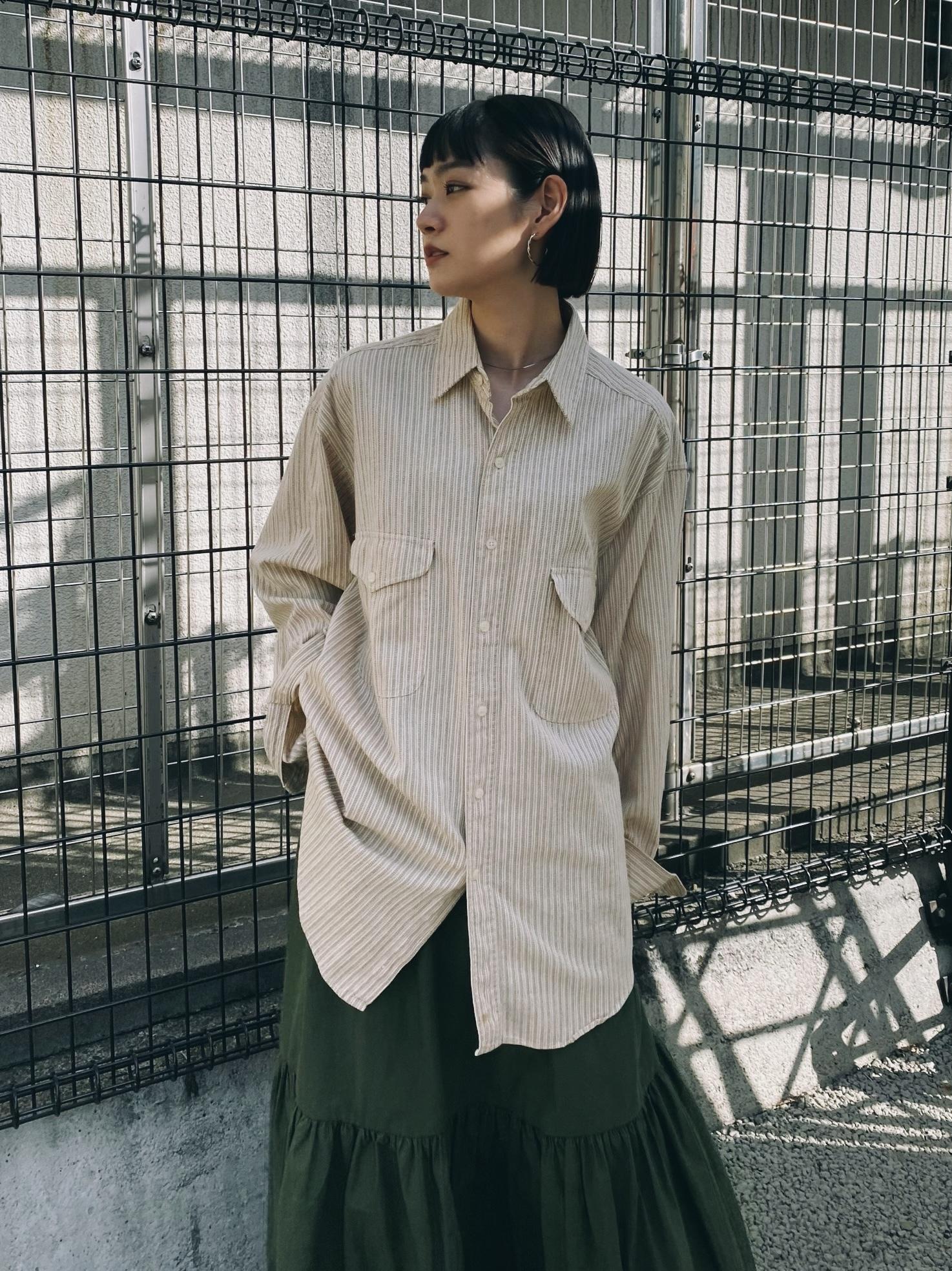 (SH028) 80's L.L.Bean cotton stripe shirt