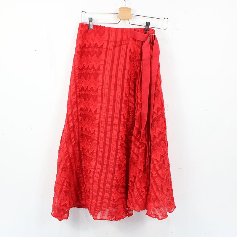 Chika Kisada / チカキサダ | ジオメトリックジャガード ストライプパッチワーク ベルテッド ロングスカート サンプル品 | - | レッド | レディース