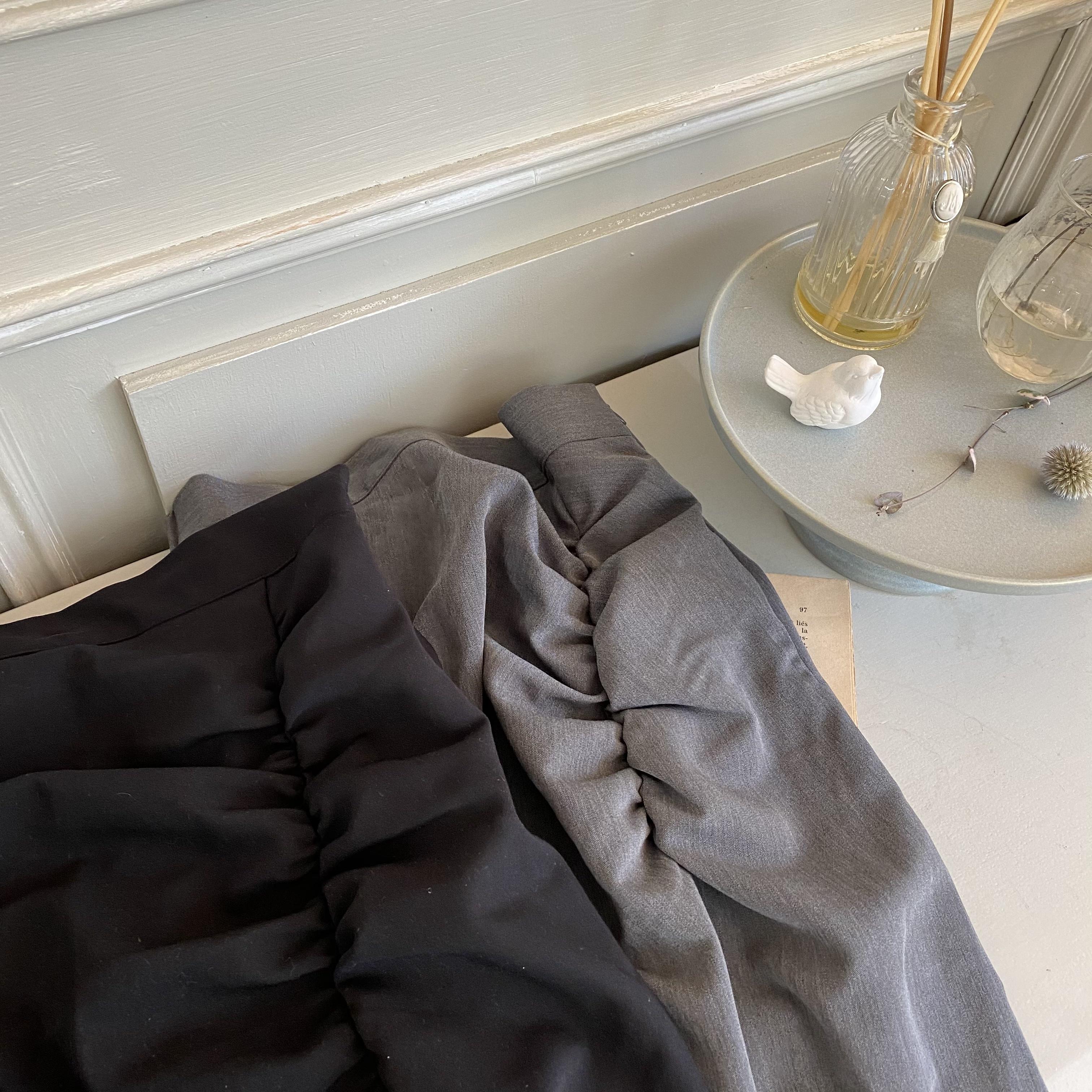 【Belle】shirring slit skirt / charcoal