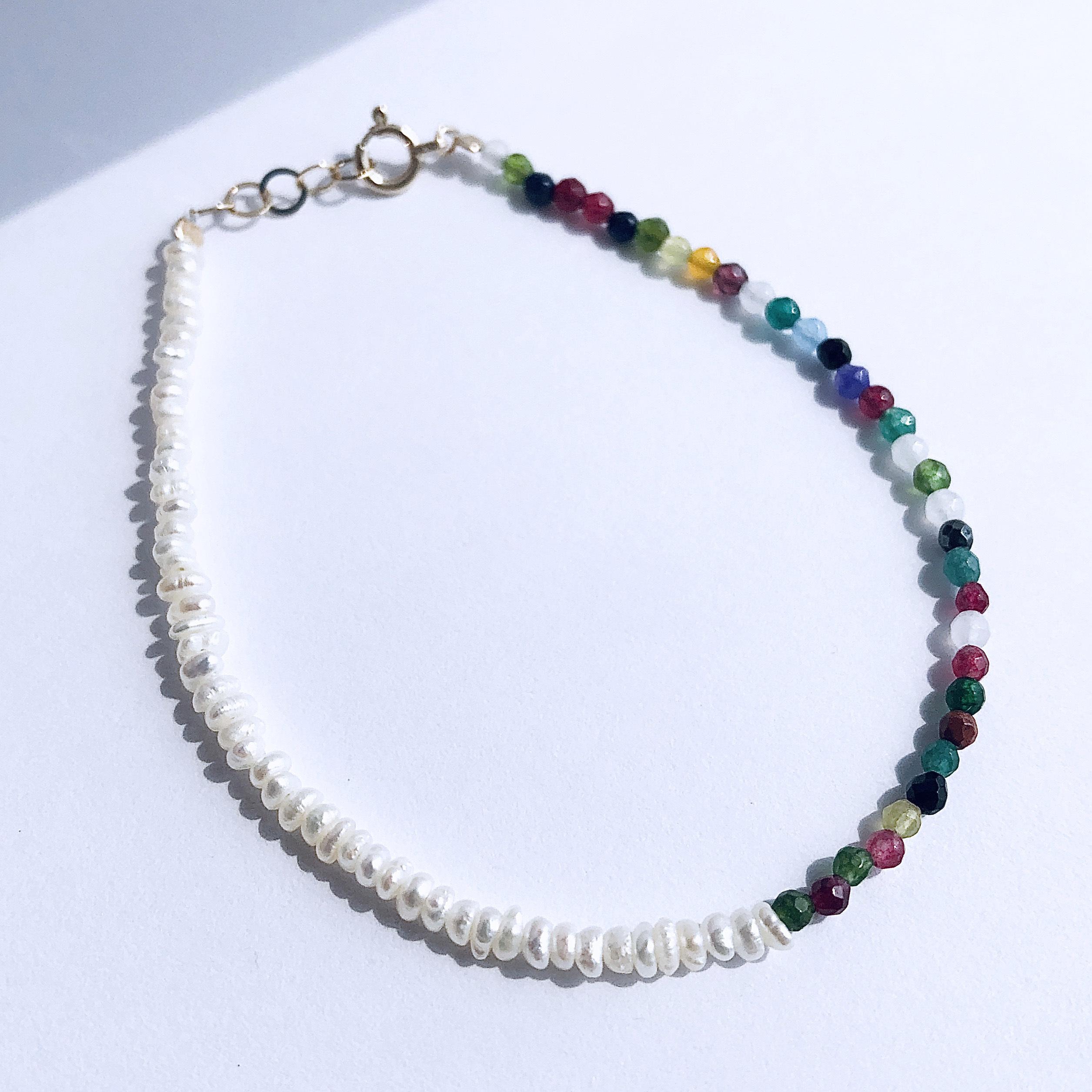 K10YG Multi Jade & Baroque Pearl Bracelet / チャリティージュエリー