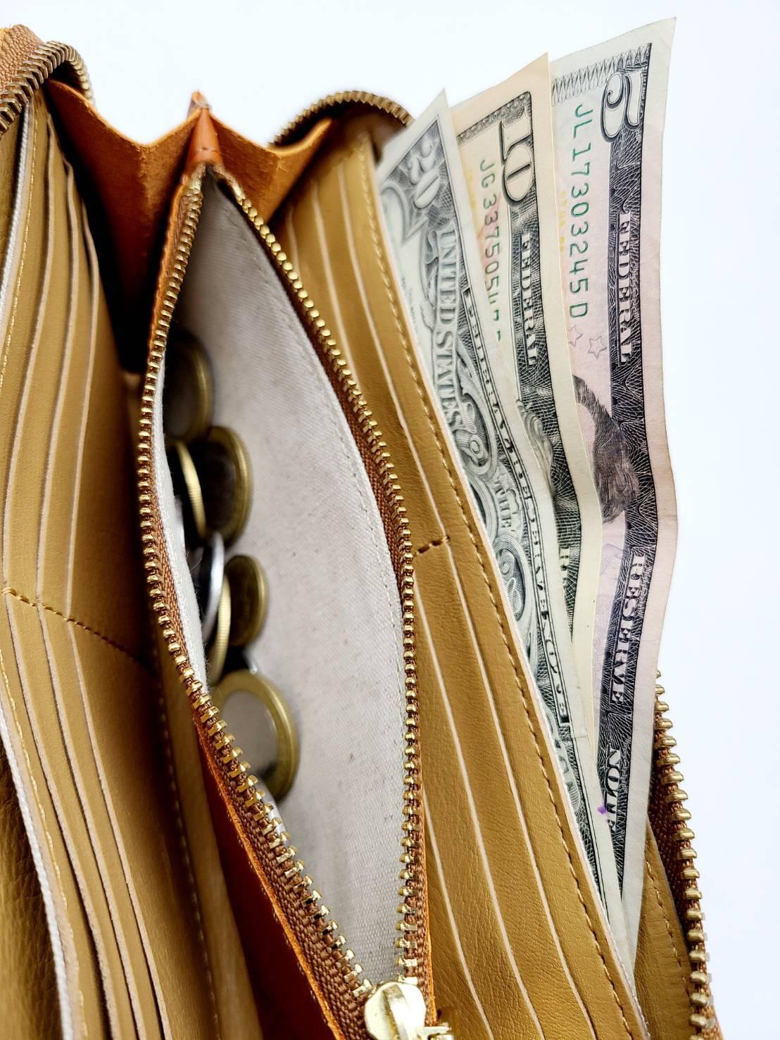 かばん屋さんの財布 ラウンドファスナー(グレー)本革 オシャレ レディース