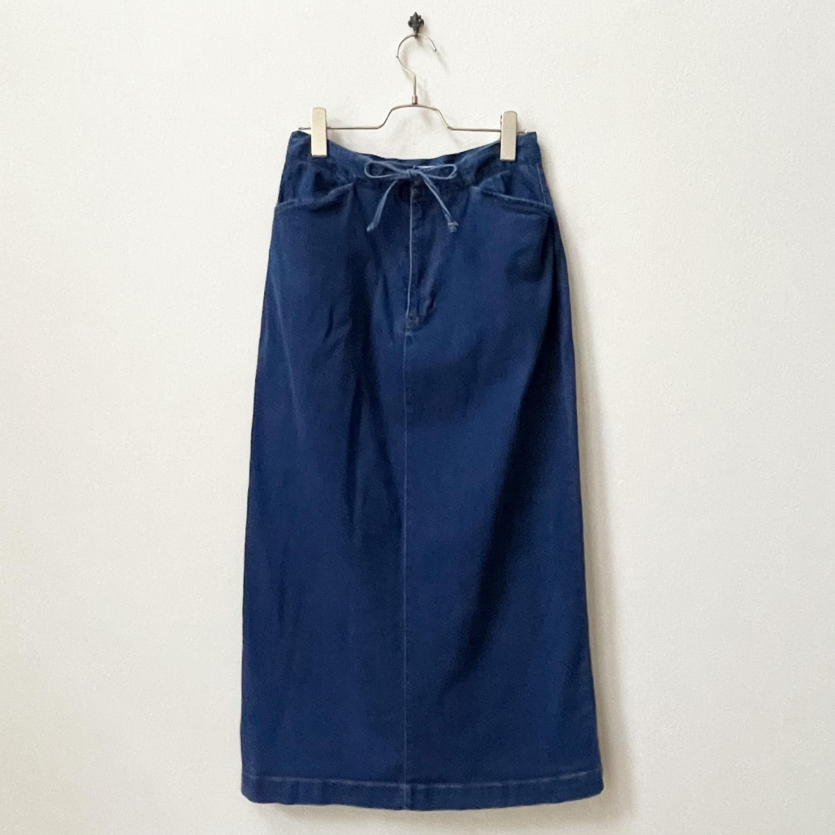 CHEROKEE 90年代 ウエストリボン デニムロングスカート アメリカ 古着 日本L〜LL
