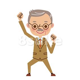 イラスト素材:ガッツポーズする社長・熟年の経営者(ベクター・JPG)