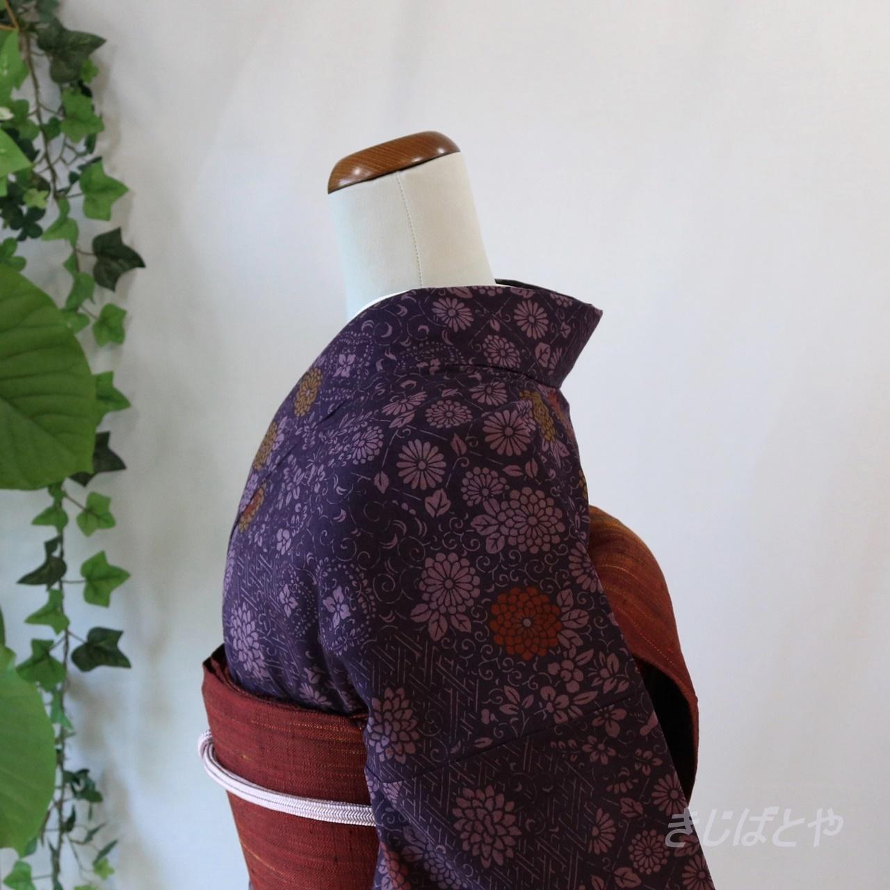 正絹紬 葡萄紫の総柄小紋 袷