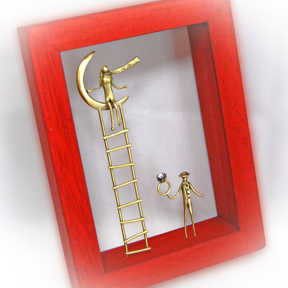 ウッド&フレーム(W9) 「はしごの上の月に座る女と指輪を持つ男」 20X15X4 cm