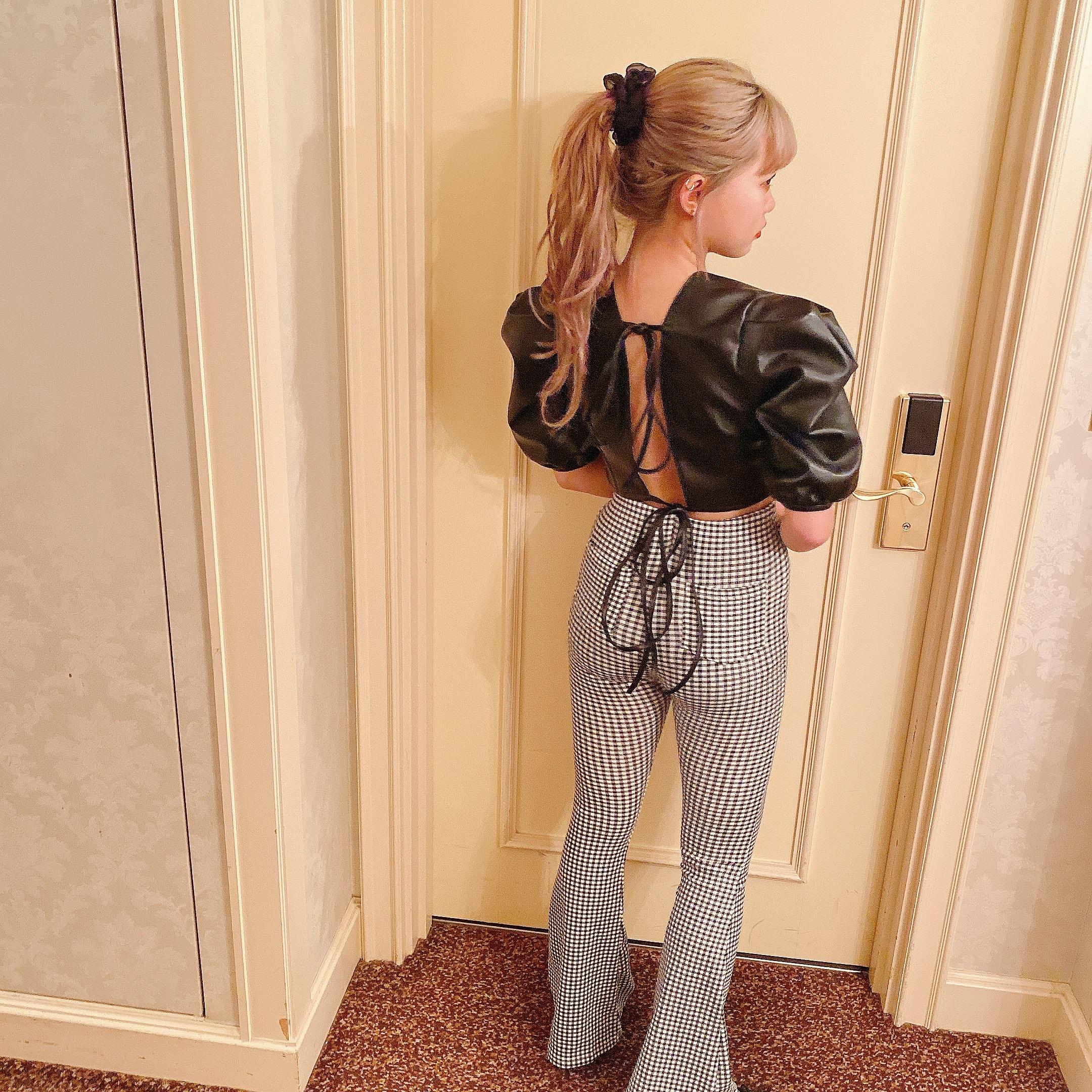 【Belle jour】gingham check flare pants