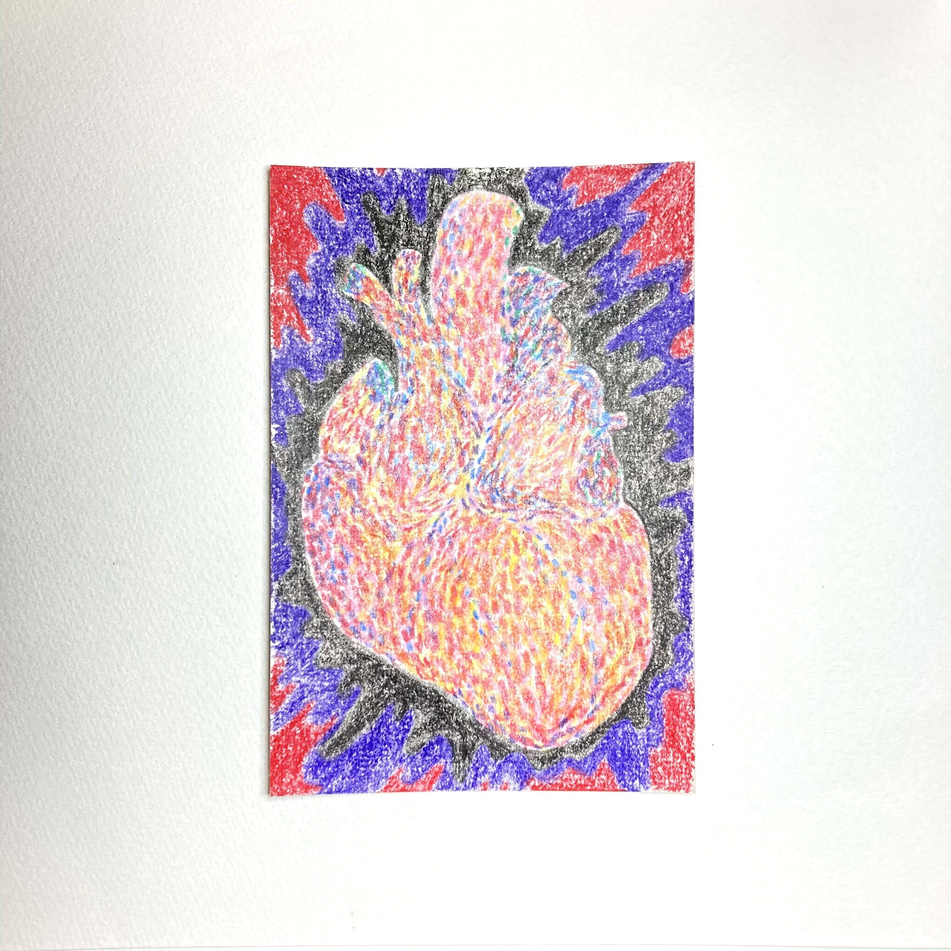 Depressive heart / 100mm×148mm / Crayon / Original Drawing