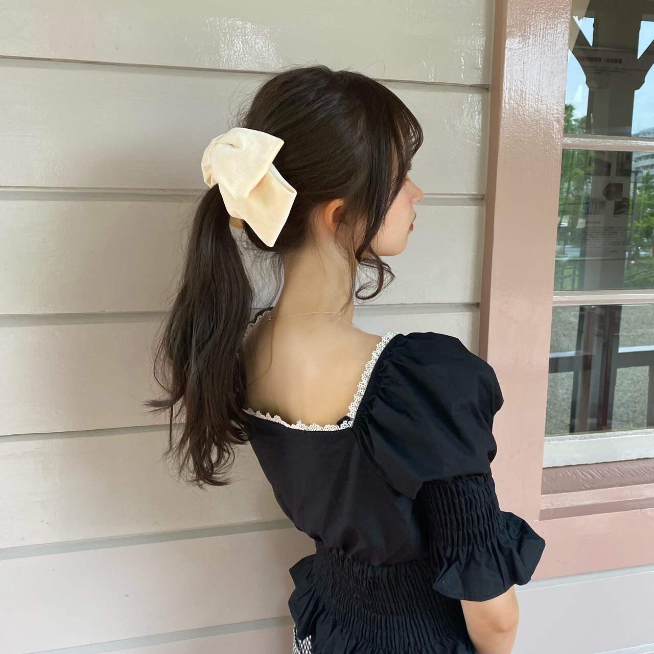 【Renonqle】black girly blouse