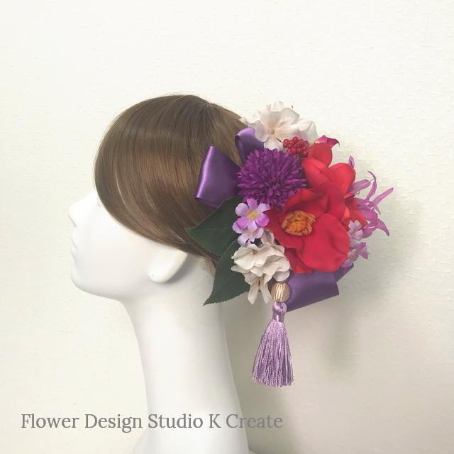 成人式 卒業袴 和装髪飾り♡艶やかな赤い椿と紫のリボンの髪飾り (Uピン20本セット)