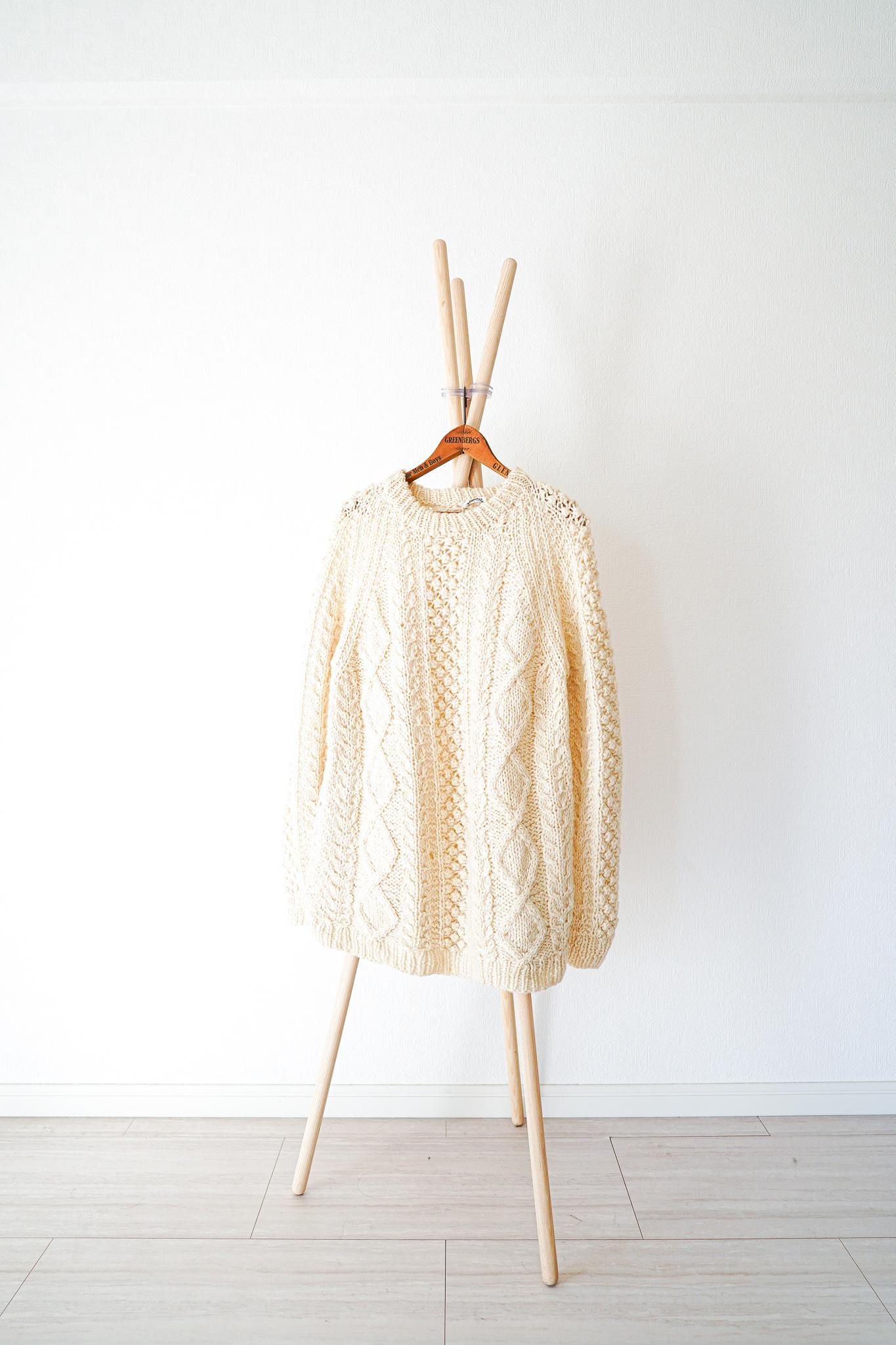 "【1980-90s】""Fisherman Sweater"" Vintage Wool Knitting / v350"