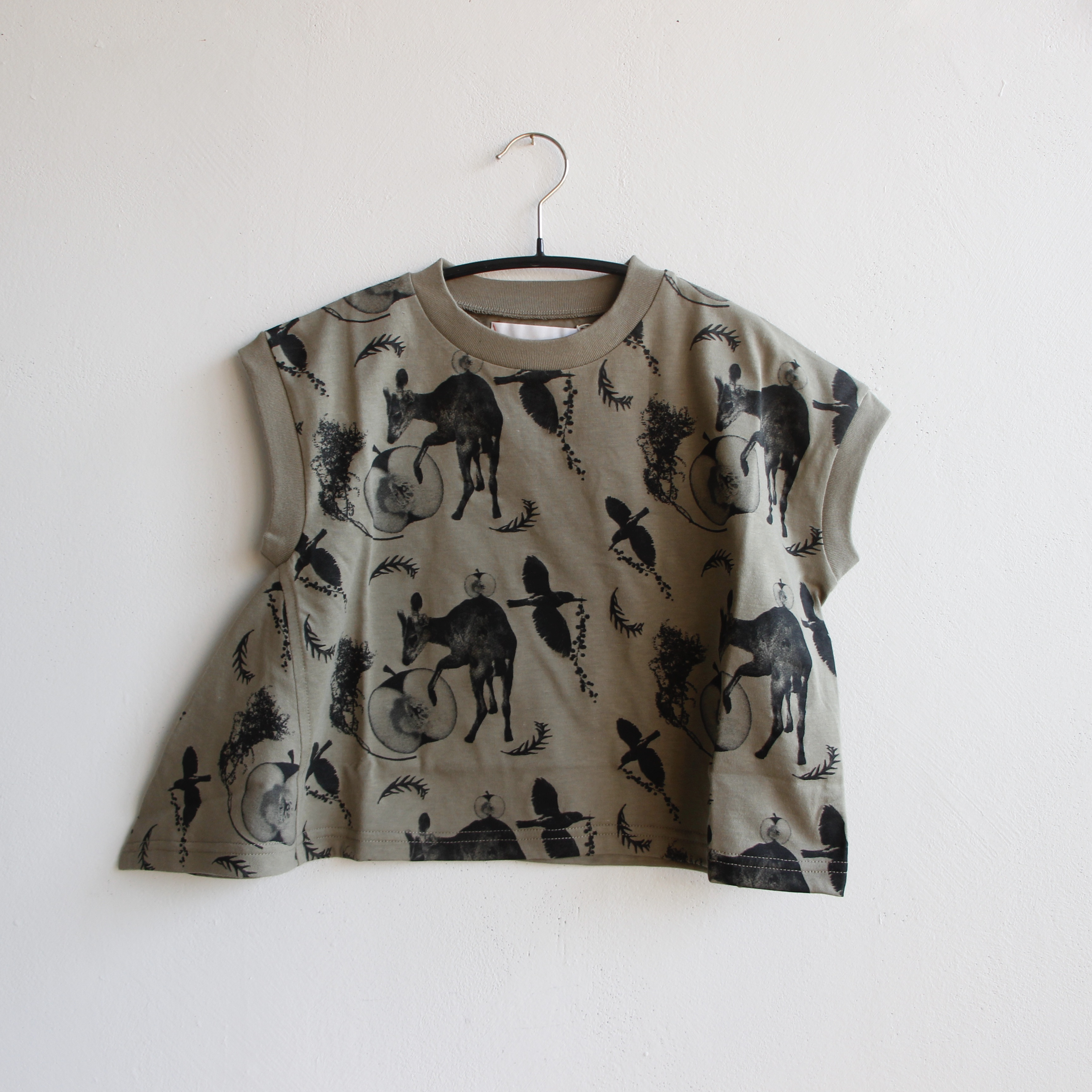 《michirico 2021SS》Flora and fauna asymmetry T / light olive / S・M