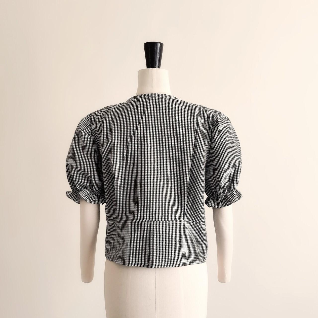 6/14締【meltie】gingham collar blouse