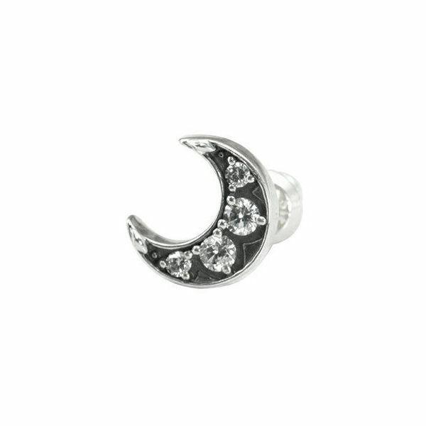 ブリリアントムーンスタッド シルバーピアス 片耳分 AKE0070 Brilliant Moon Stud Silver Earrings for One Ear