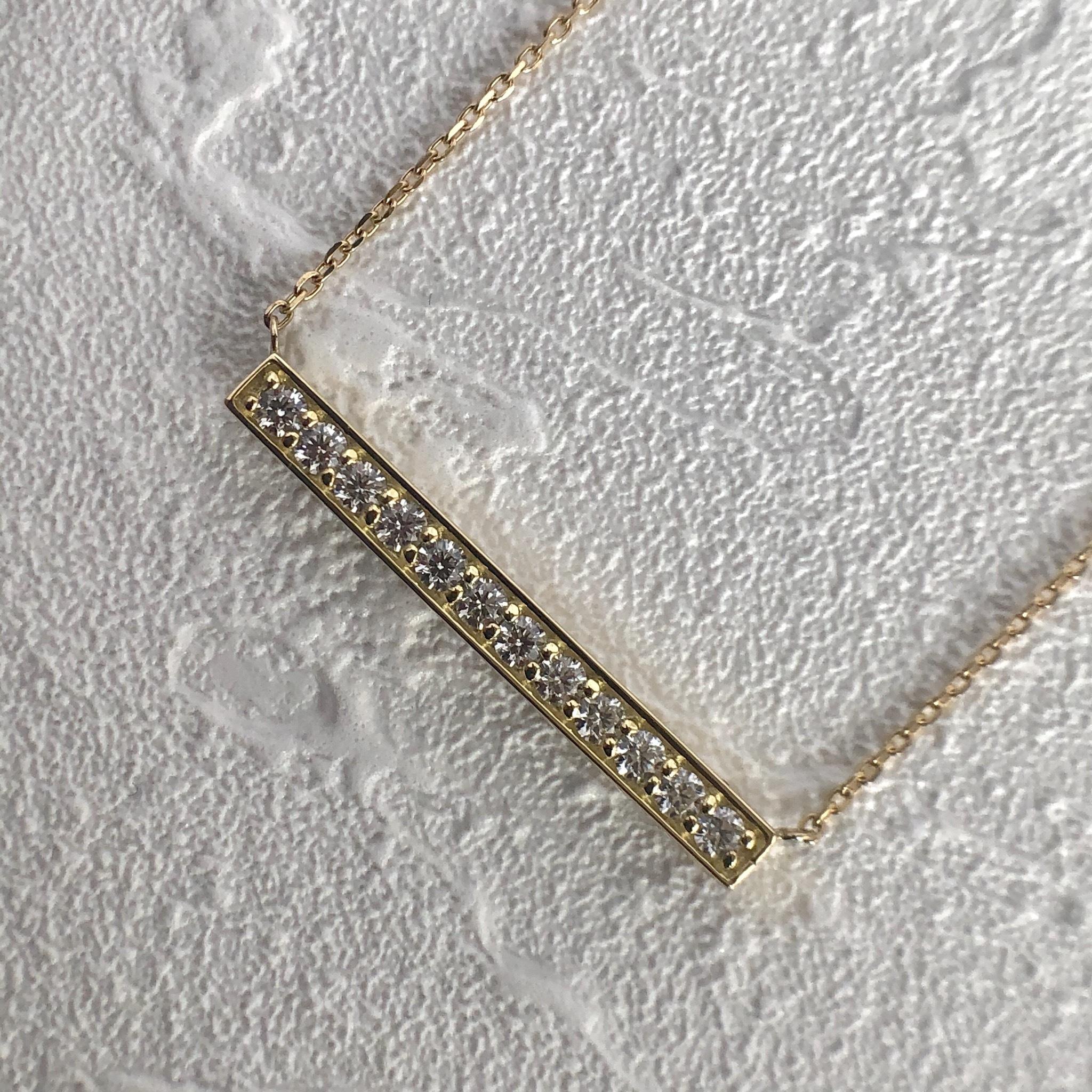ハート& キューピッド ダイヤモンド  バー ペンダントY  0.20ct K18イエローゴールド / ピンクゴールド チェカ 鑑別書付