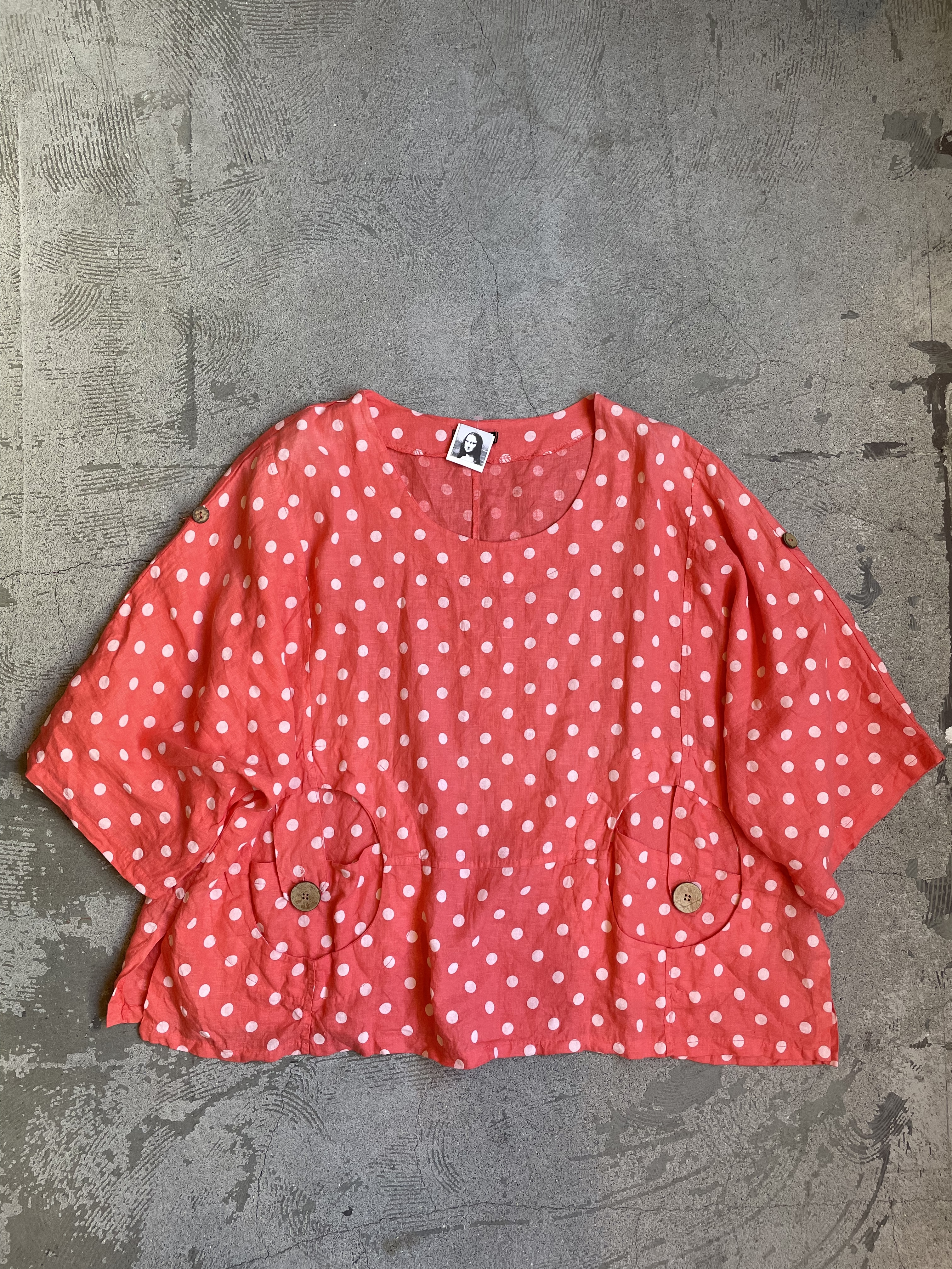 made in ITALY vintage dot pattern blouse