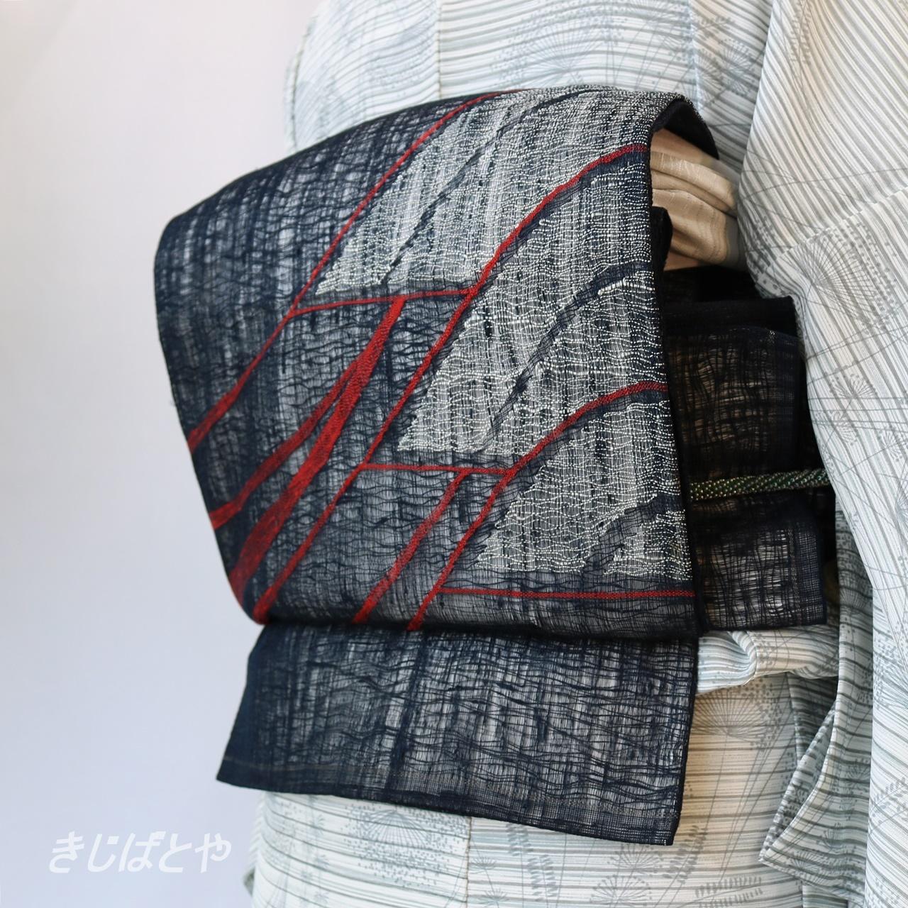 正絹紗 濃紺に末広の夏袋帯