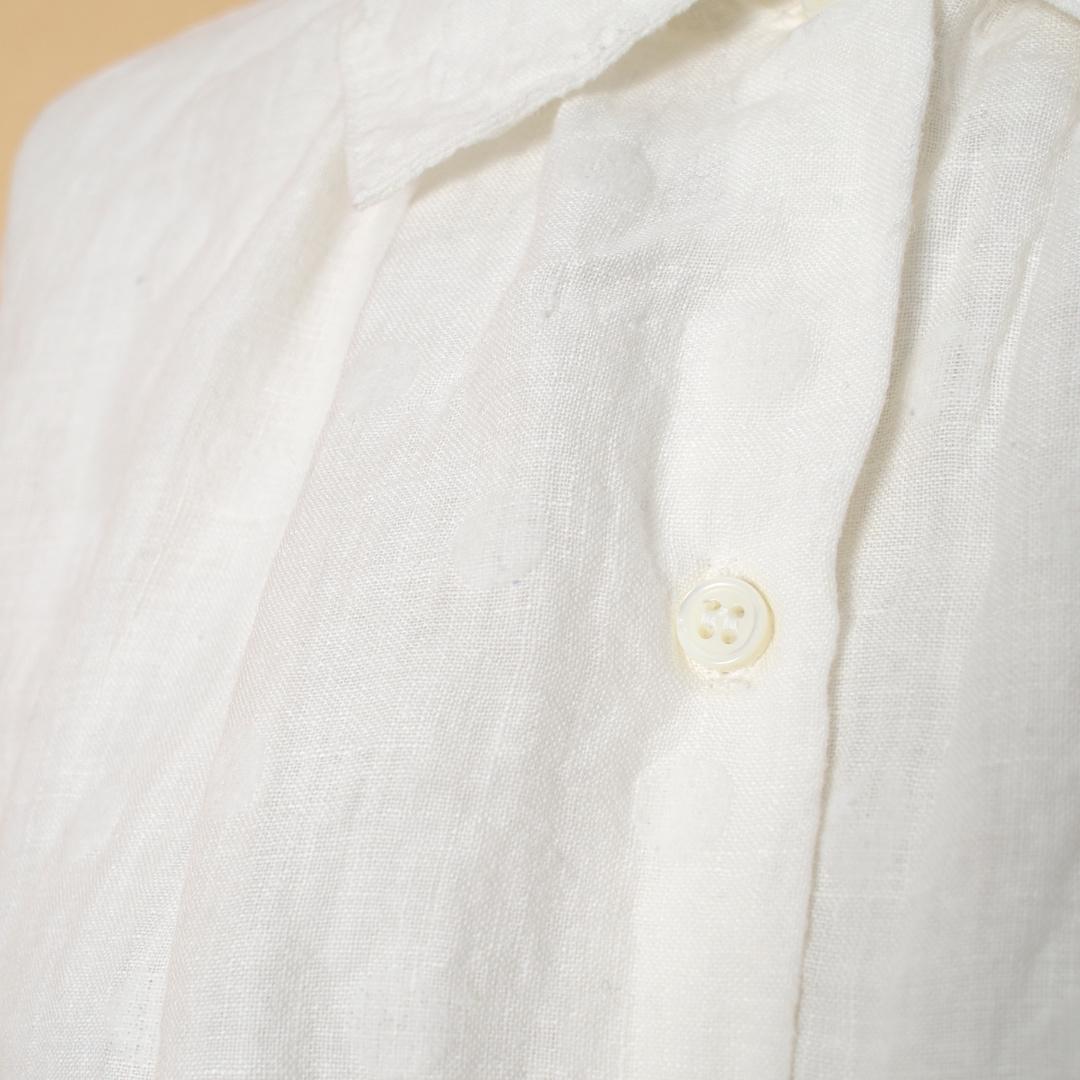 Gauze# ガーゼ G634 リネンドットタイニーカラーワイドブラウス・ホワイトドット