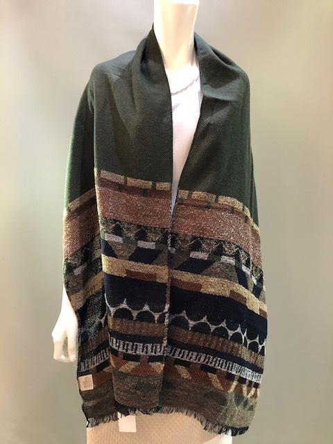 LARIOSETA イタリア製 ウールモダールジャガード織ショール EE621/10664