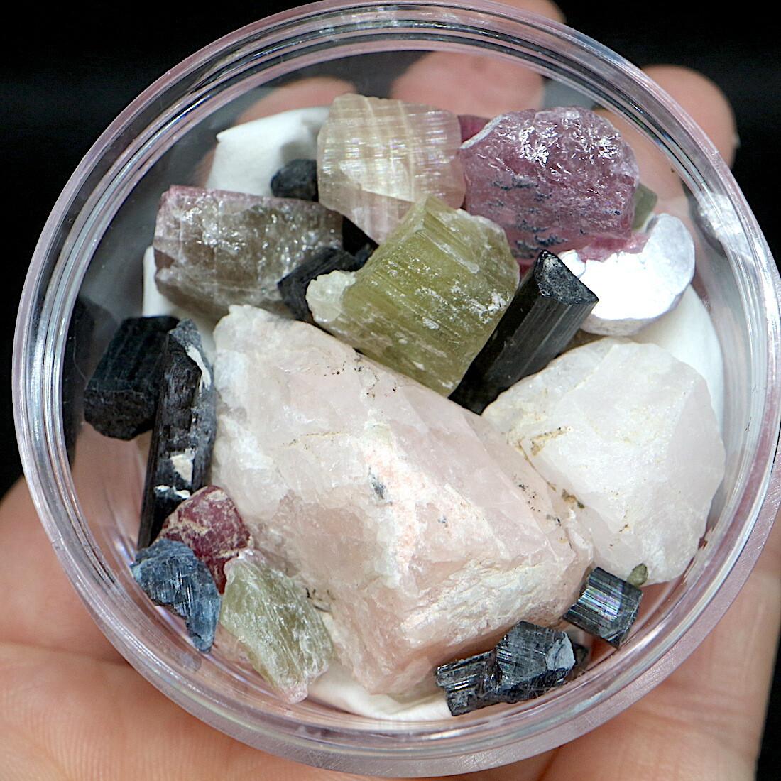 【鉱物標本セット】オーシャンビュー鉱山ミネラルセット#6  トルマリン モルガナイト レピドライト T172 天然石 鉱物セット パワーストーン